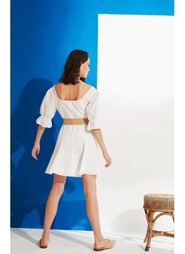 Nocturne Kolları Volanlı Brode Elbise Beyaz